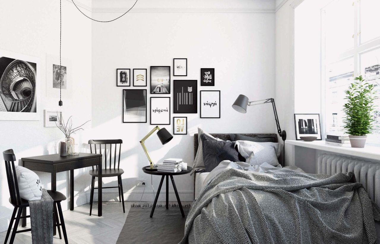 Thiết kế nội thất phòng ngủ nhỏ tông màu trắng đen