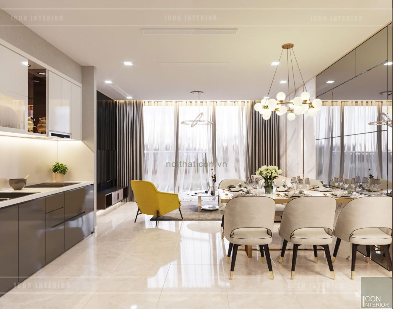 thiết kế căn hộ chung cư 110m2