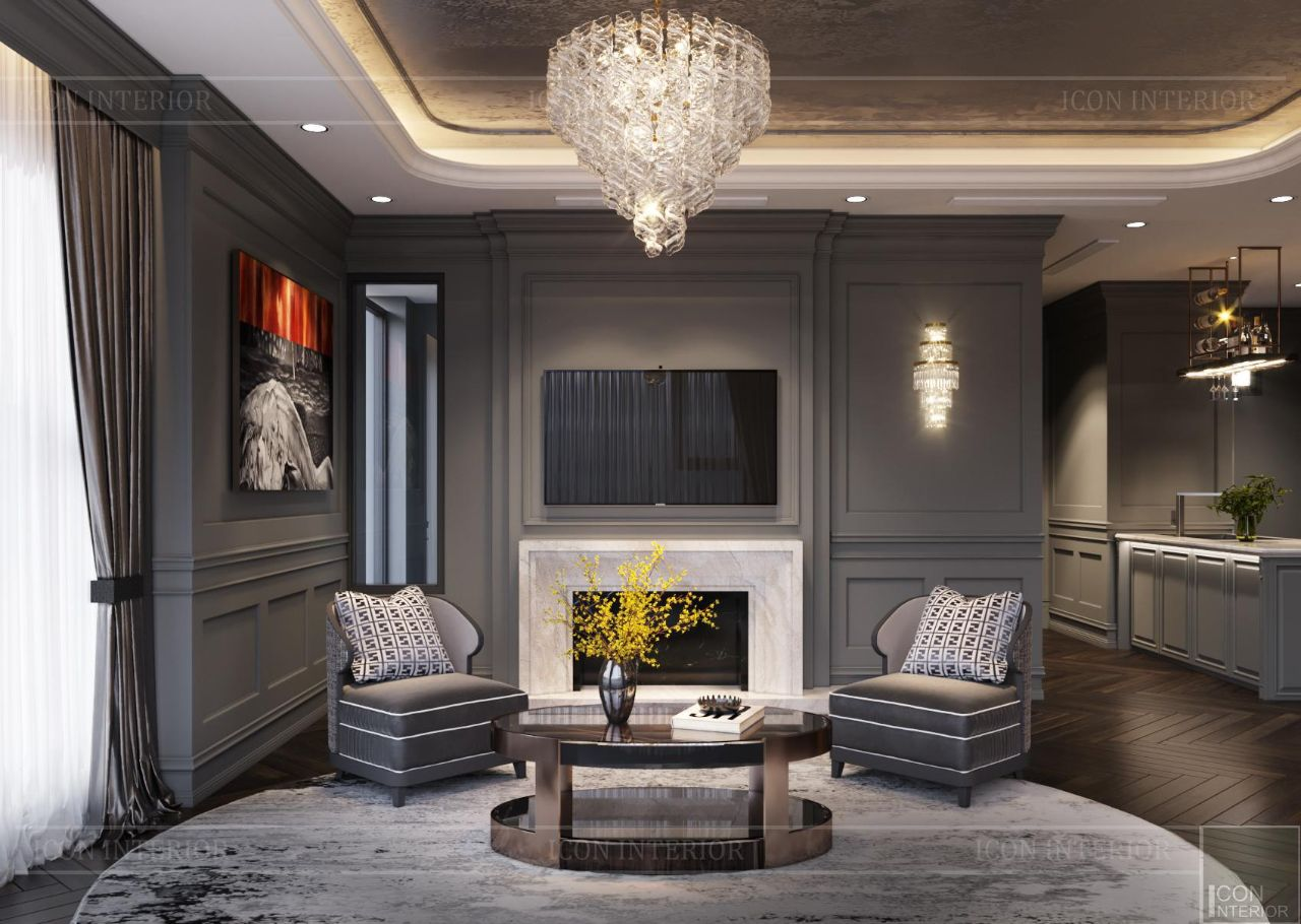 thiết kế căn hộ tân cổ điển sang trọng