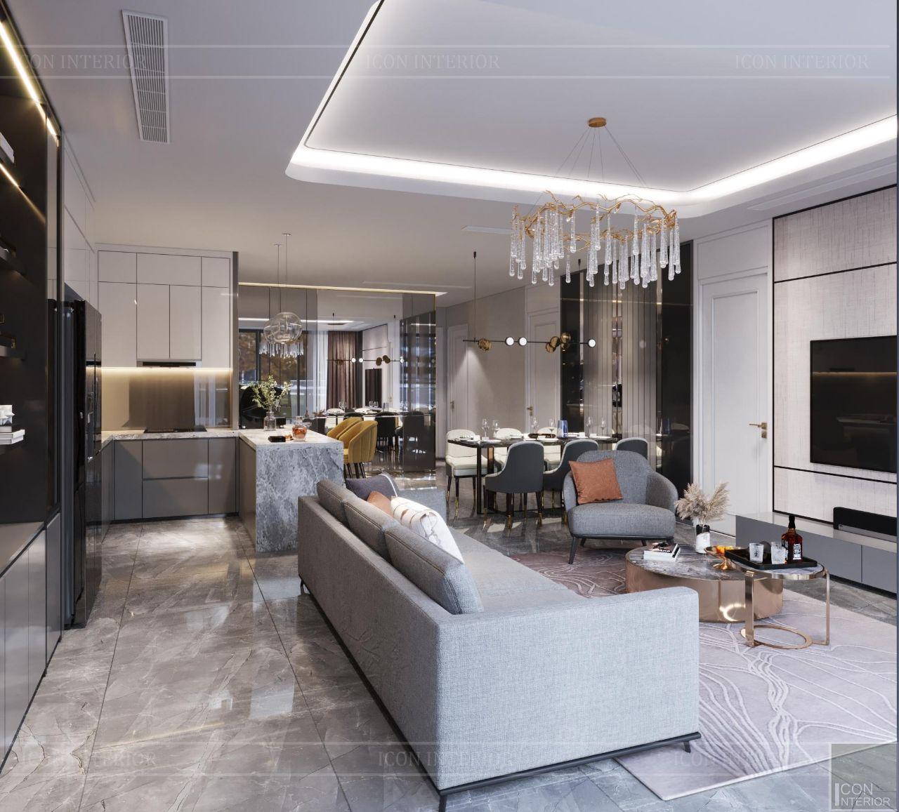 thiết kế nội thất chung cư 110m2 vinhomes golden river