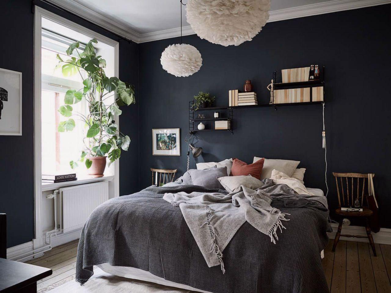thiết kế nội thất phòng ngủ Scandi tông màu tối