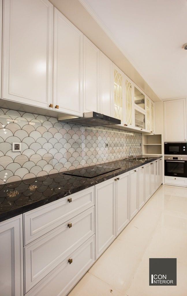 Gạch lát tường phòng bếp ấn tượng, độc đáo