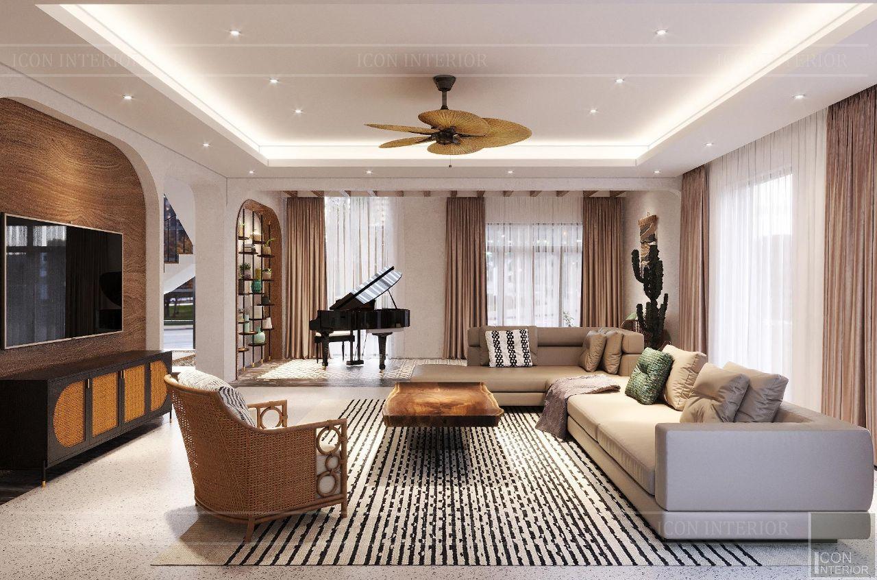 phòng khách thiết kế theo phong cách Tropical