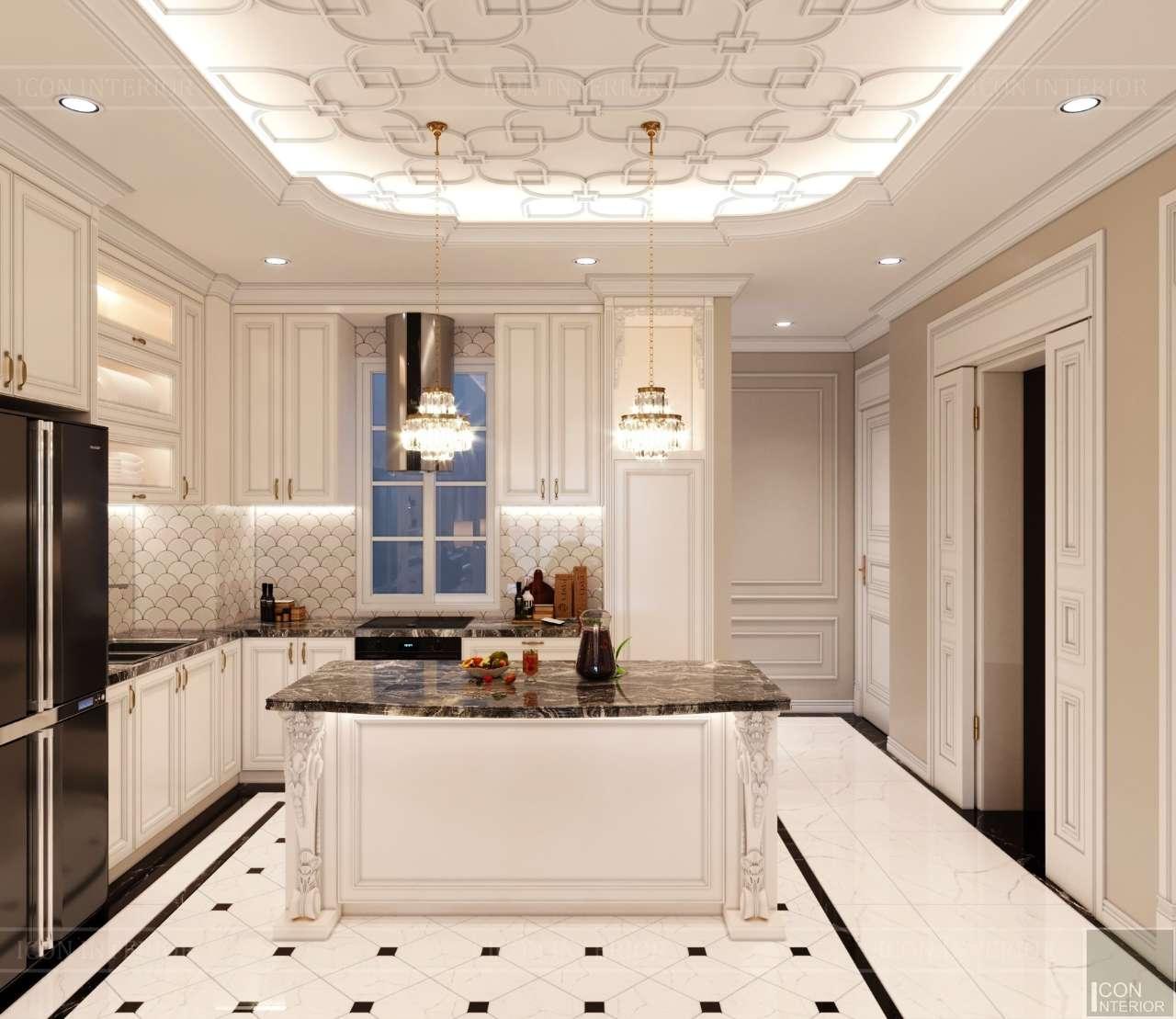 quầy bếp căn hộ penthouse tân cổ điển