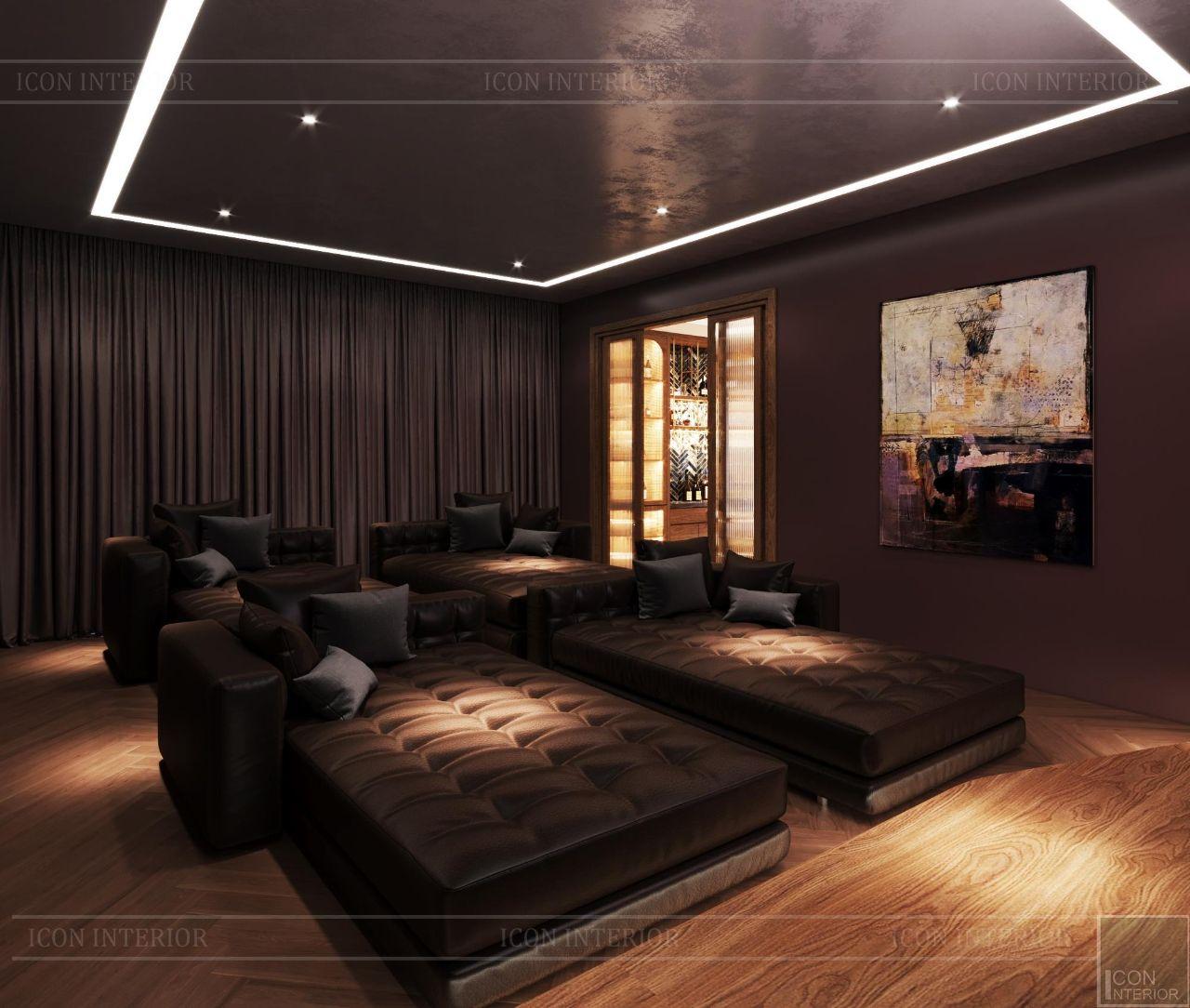 nội thất phòng xem phim biệt thự 3 tầng