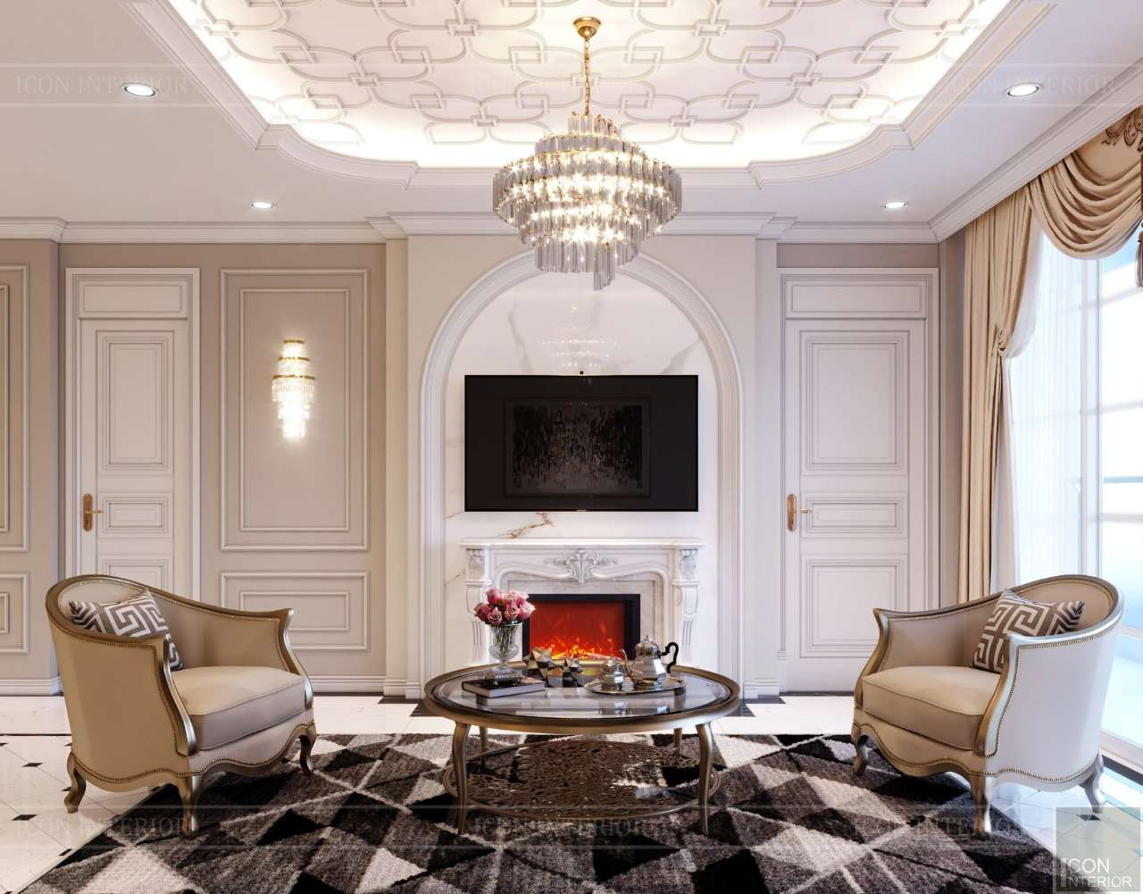 trang trí phòng khách penthouse quận 10 200m2 mr. Tuấn Anh