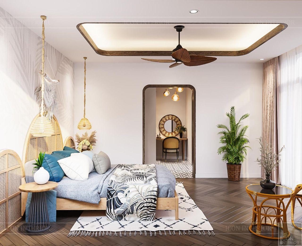 nội thất phòng ngủ phong cách nhiệt đới