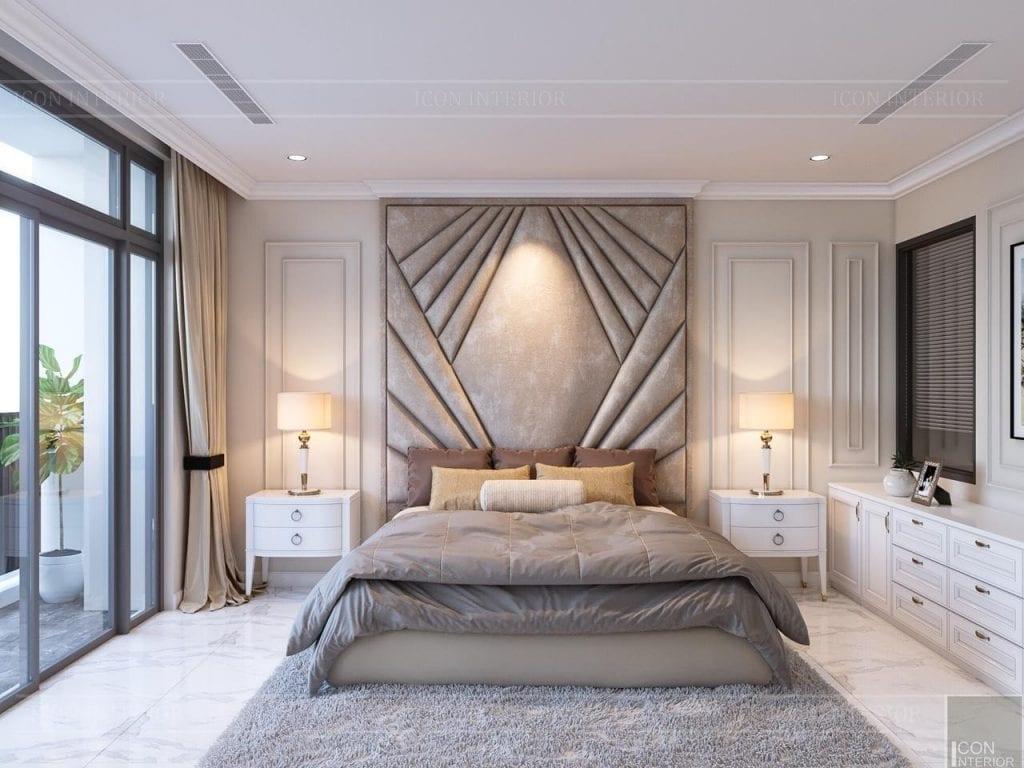 Phòng ngủ tông màu trung tính, ấm áp cho gia chủ 1974 dễ đi vào giấc ngủ