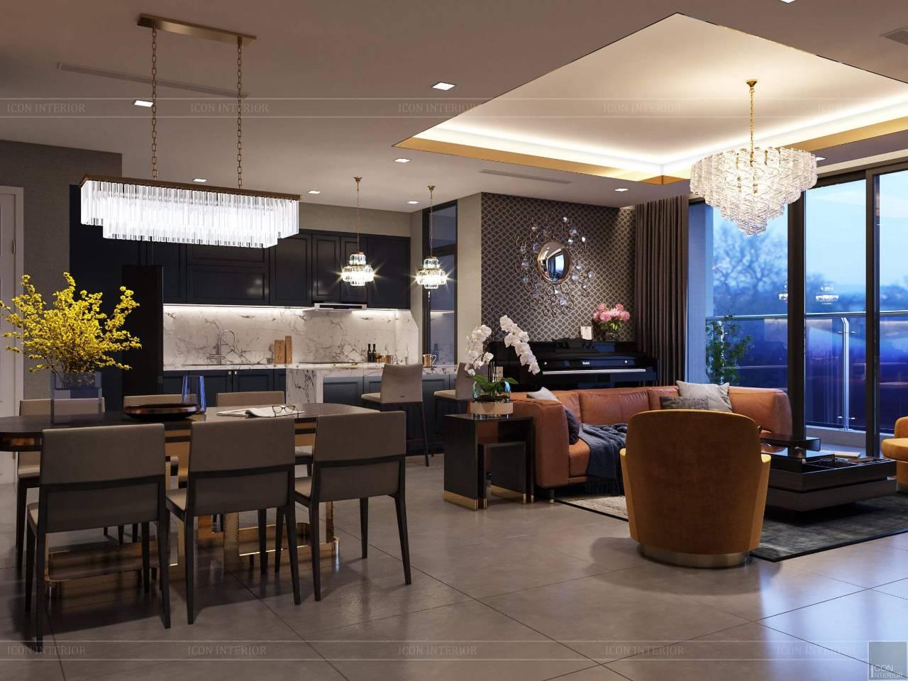 phòng ăn căn hộ phong cách hiện đại