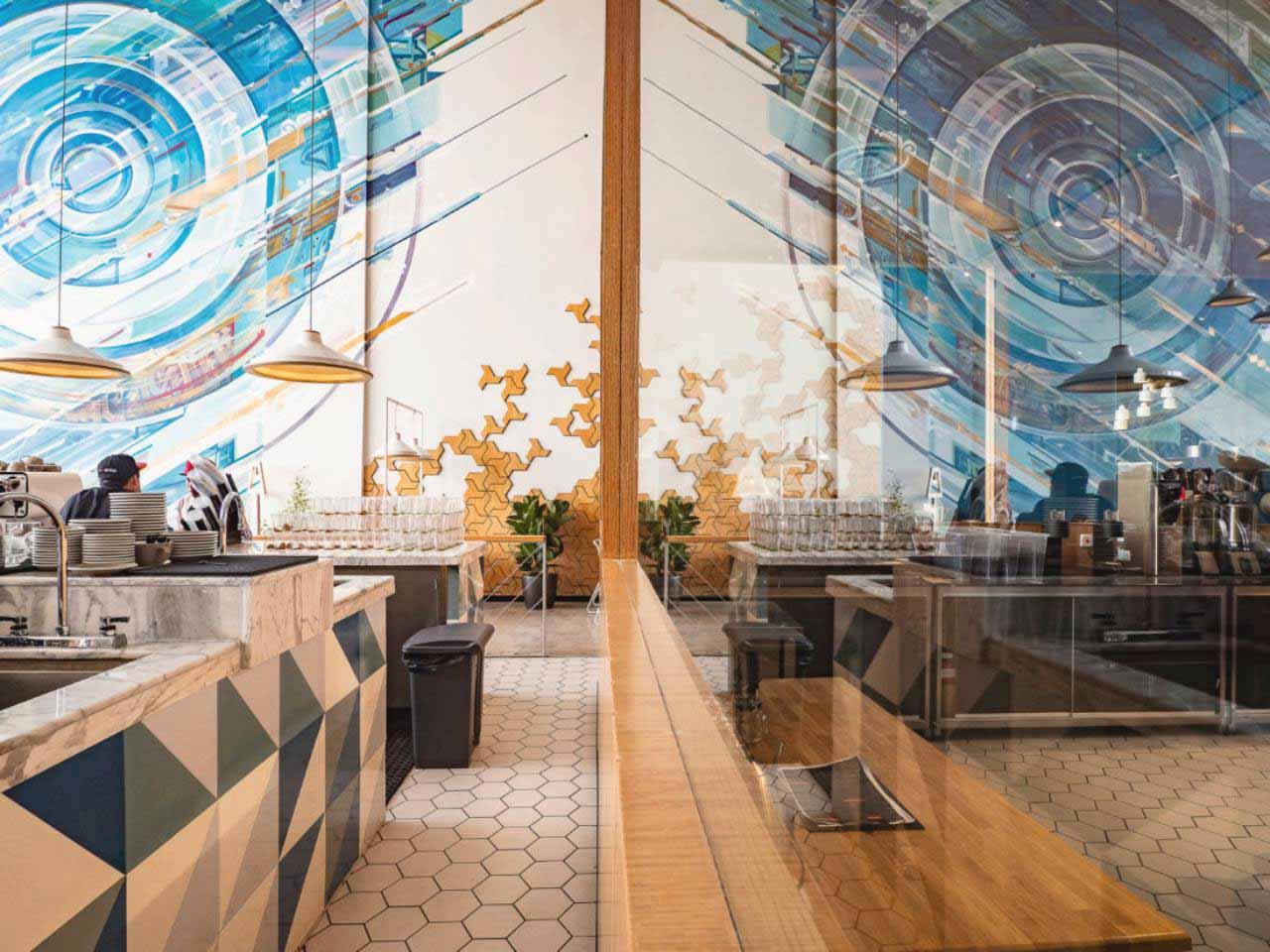 phối hợp màu sắc quán cafe phong cách bắc âu