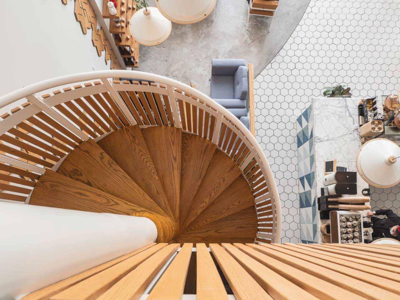 phong cách Scandinavian cho quán cafe 2 tầng