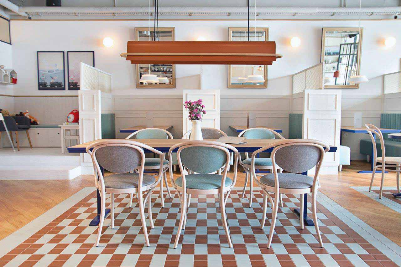 xanh pastel quán cafe phong cách scandinavian