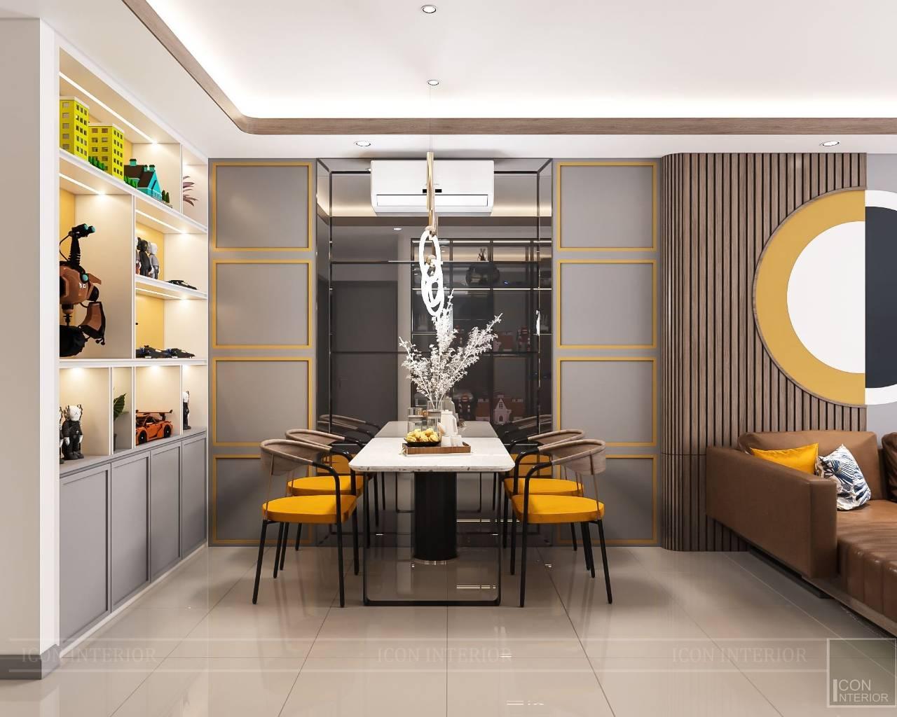 Mẫu thiết kế nội thất màu vàng màu xám