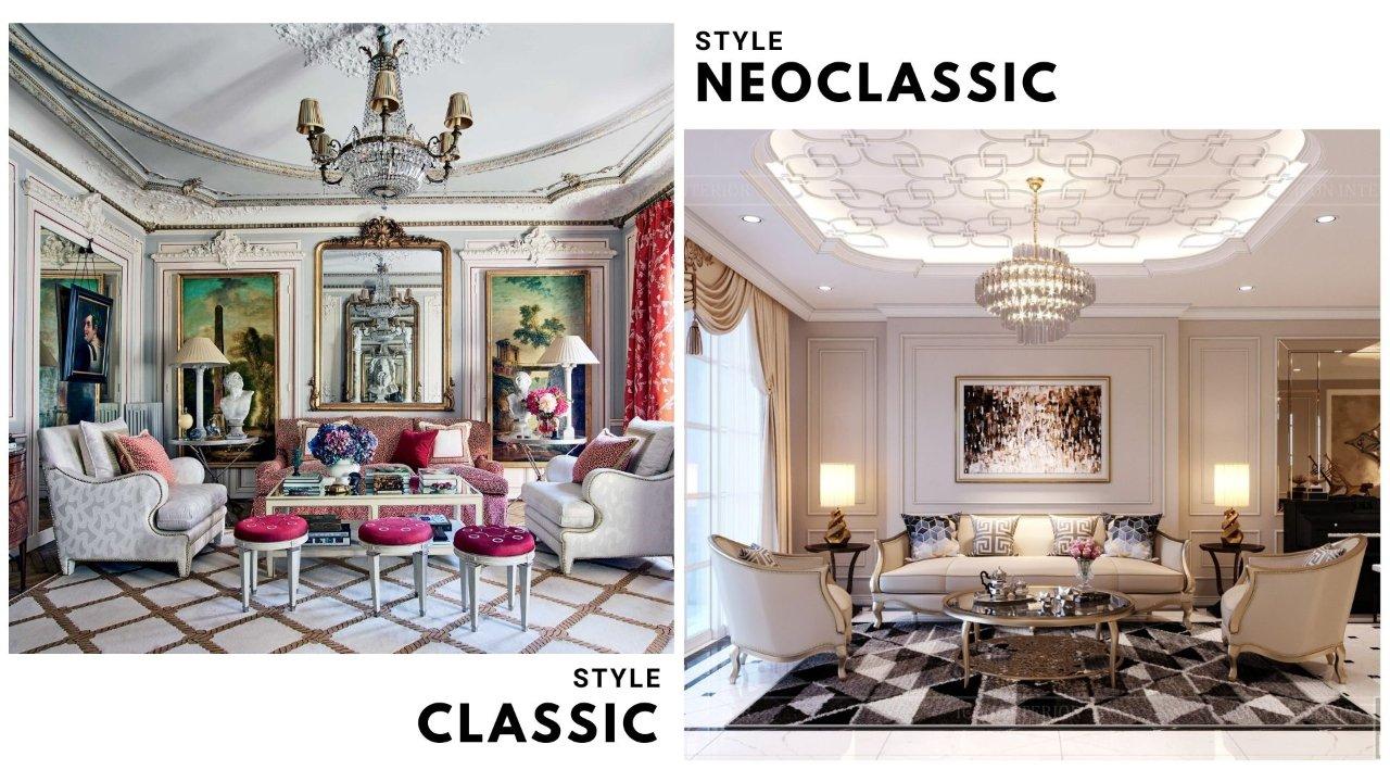 phòng khách phong cách cổ điển và tân cổ điển