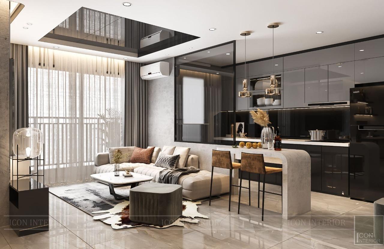 thiết kế chung cư 50m2 phong cách hiện đại