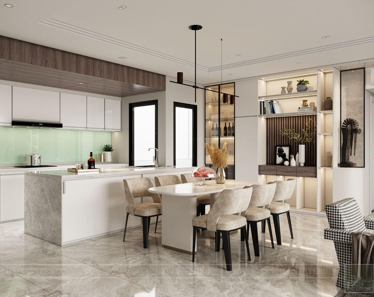 phòng bếp hiện đại chung cư