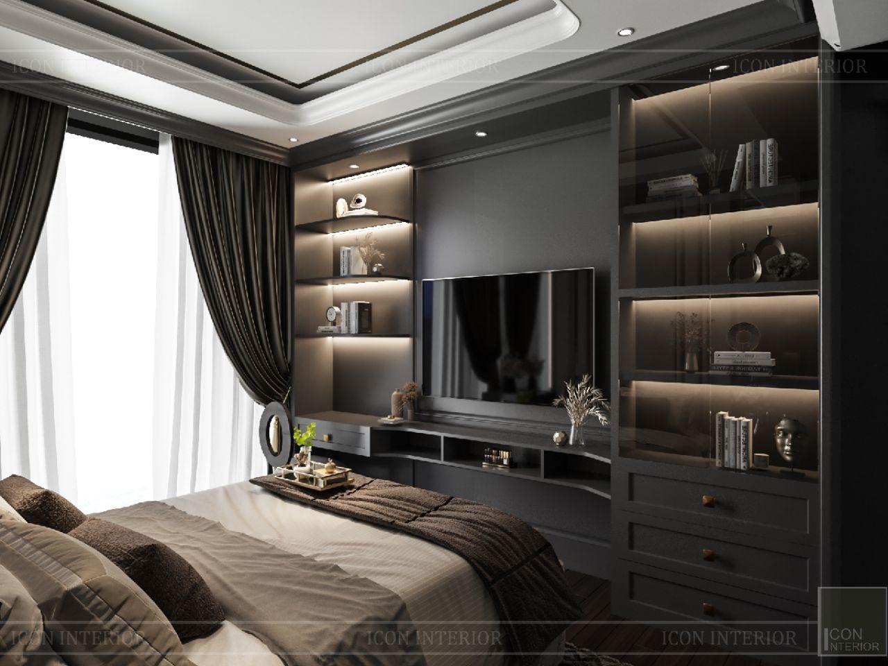 vách tivi phòng ngủ căn hộ empire