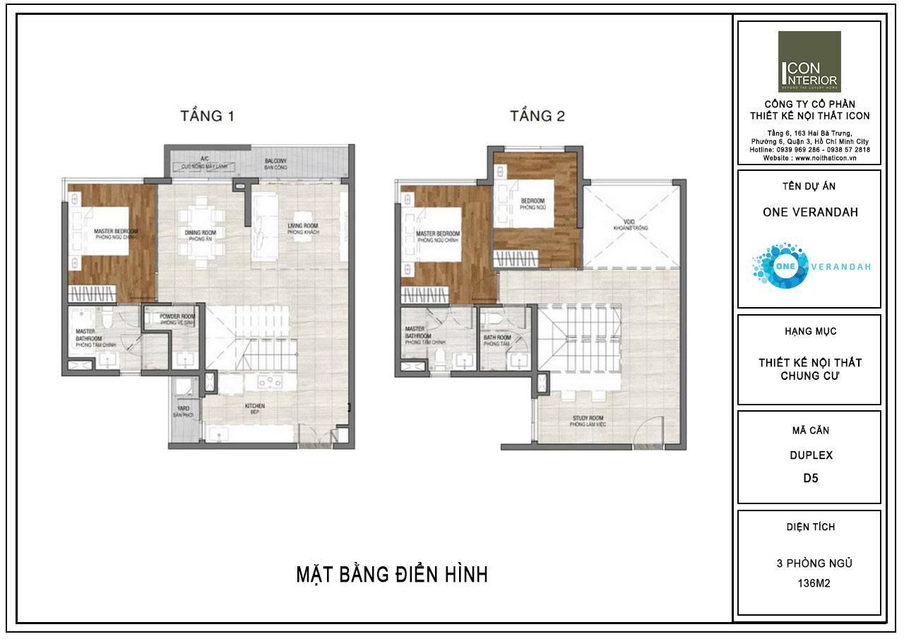 mặt bằng điển hình căn hộ duplex one verandah
