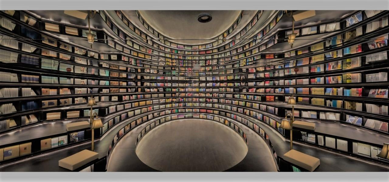 không gian nhà sách Chung Thư Các với cấu trúc hình tròn