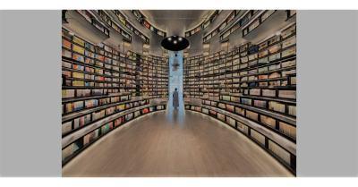 nhà sách có hiệu ứng nhân đôi không gian nơi phòng đọc sách