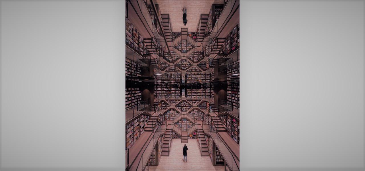 nhà sách có hiệu ứng nhân đôi không gian, thiết kế mở rộng cả một khoảng không gian rộng lớn