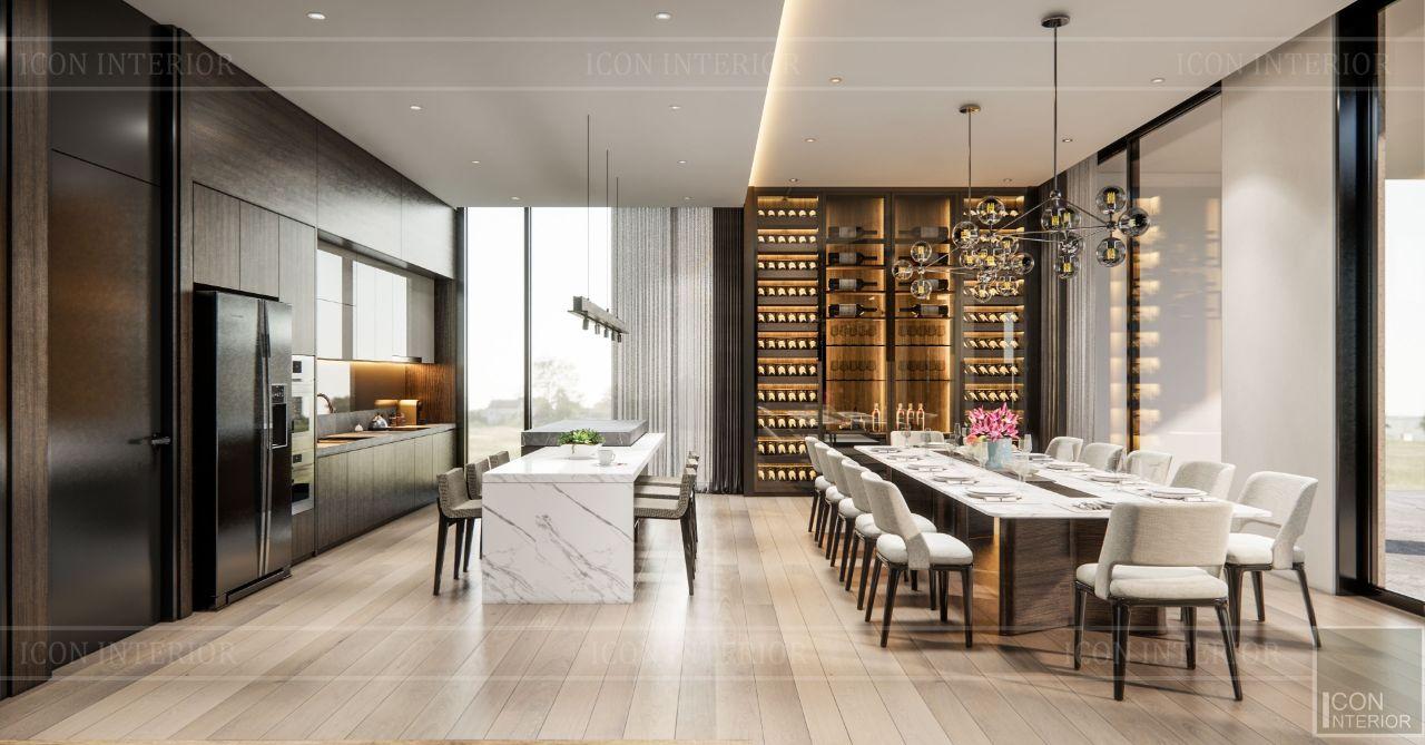 thiết kế phòng bếp hiện đại villa bình dương 4 tầng