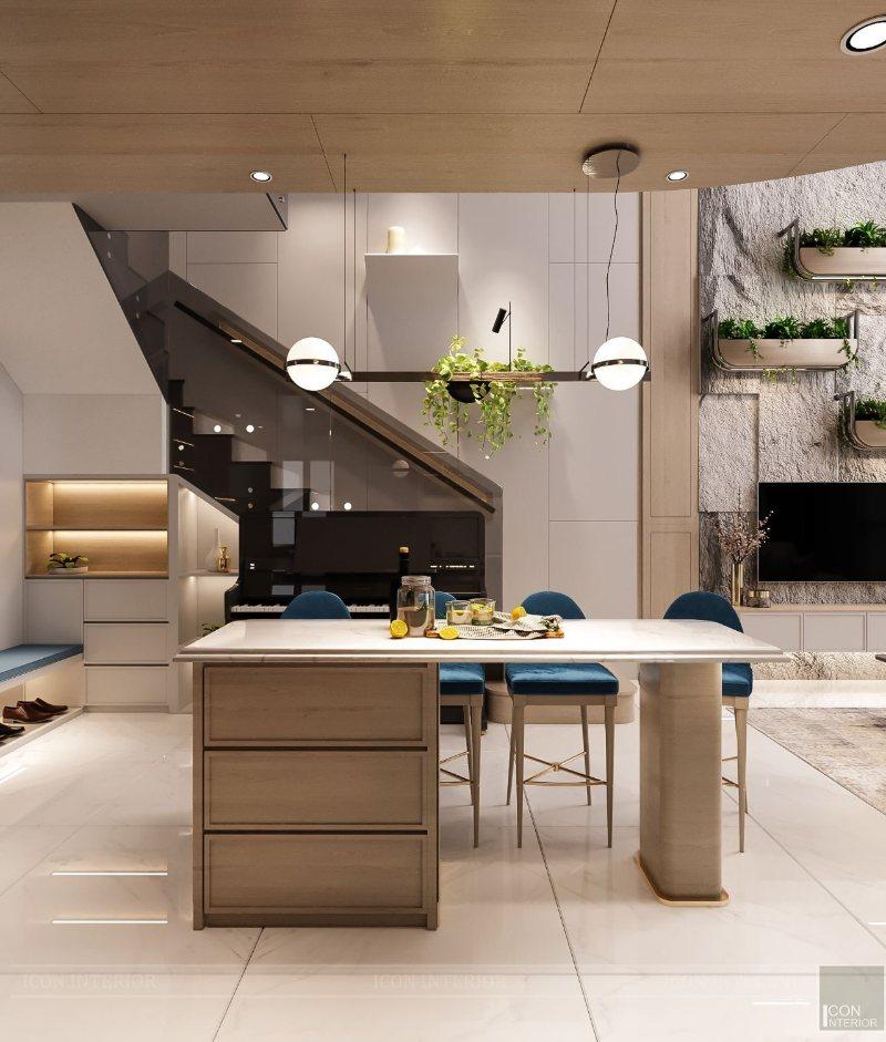 thiết kế bếp căn hộ duplex