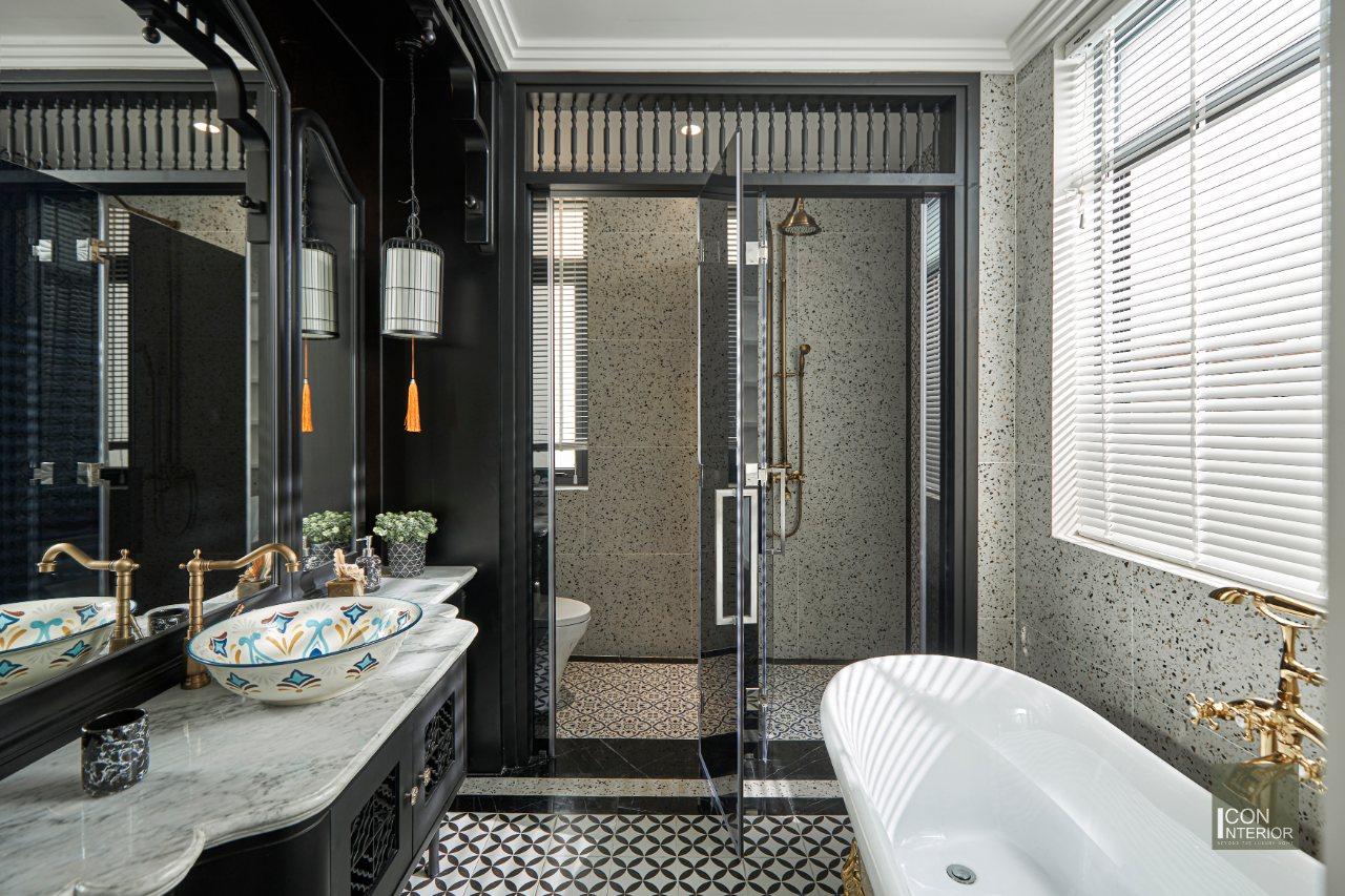 thi công toilet biệt thự 2 tầng