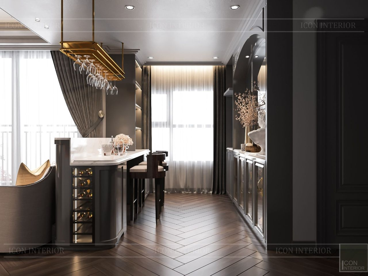 thiết kế phòng bếp nội thất căn hộ 2 phòng ngủ