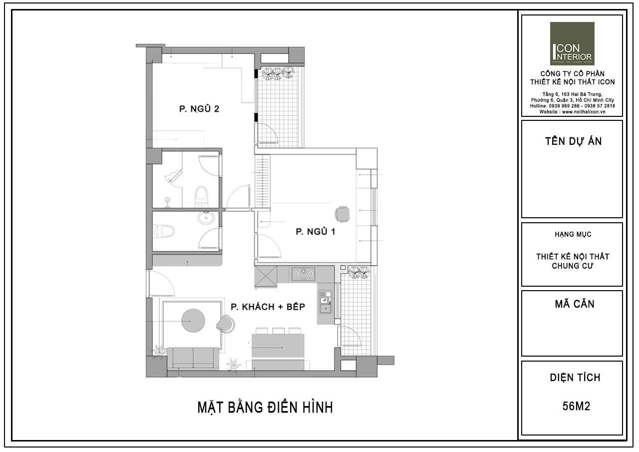 mặt bằng căn hộ 56m2 2 phòng ngủ