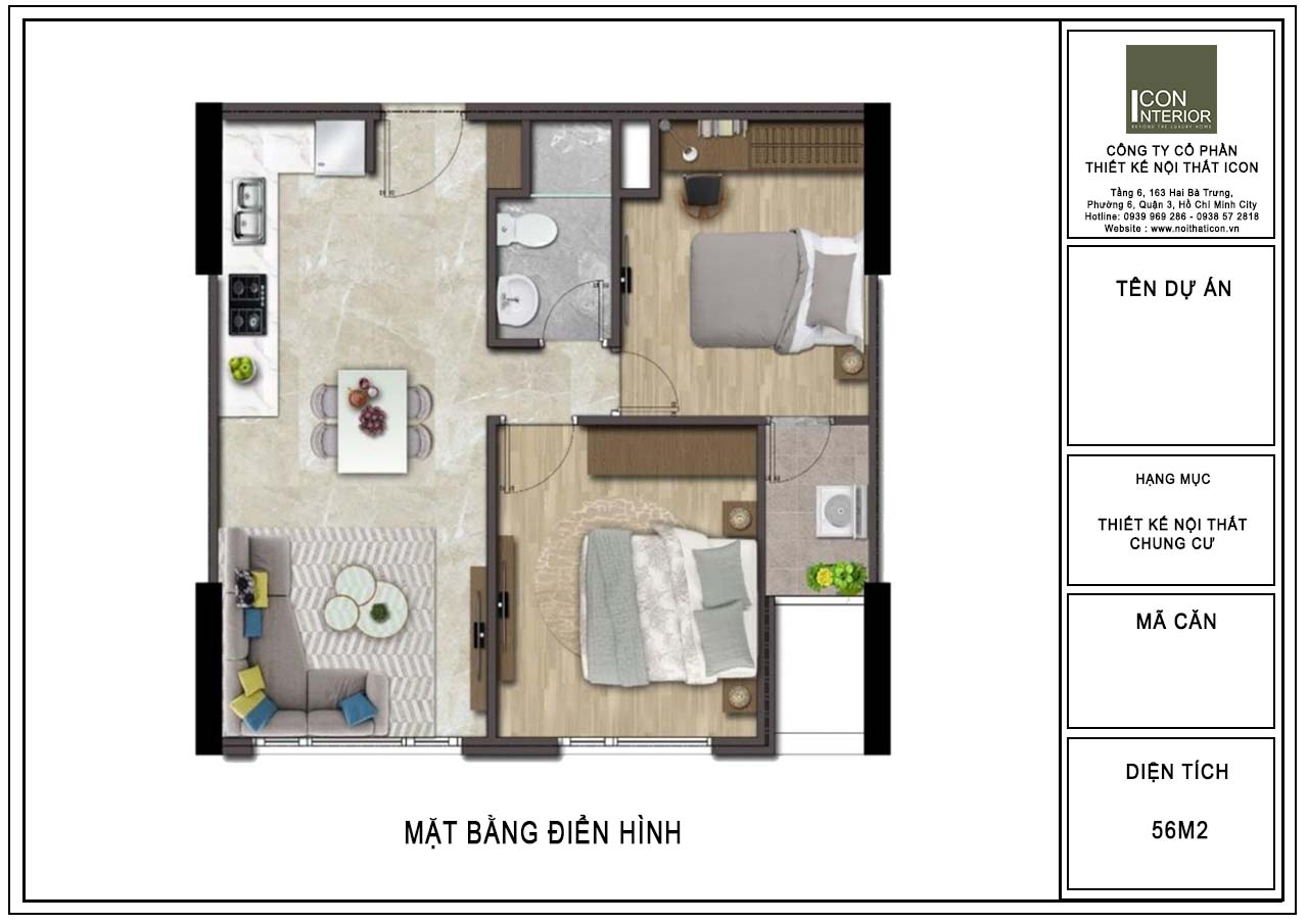 mặt bằng bố trí nội thất căn hộ 56m2