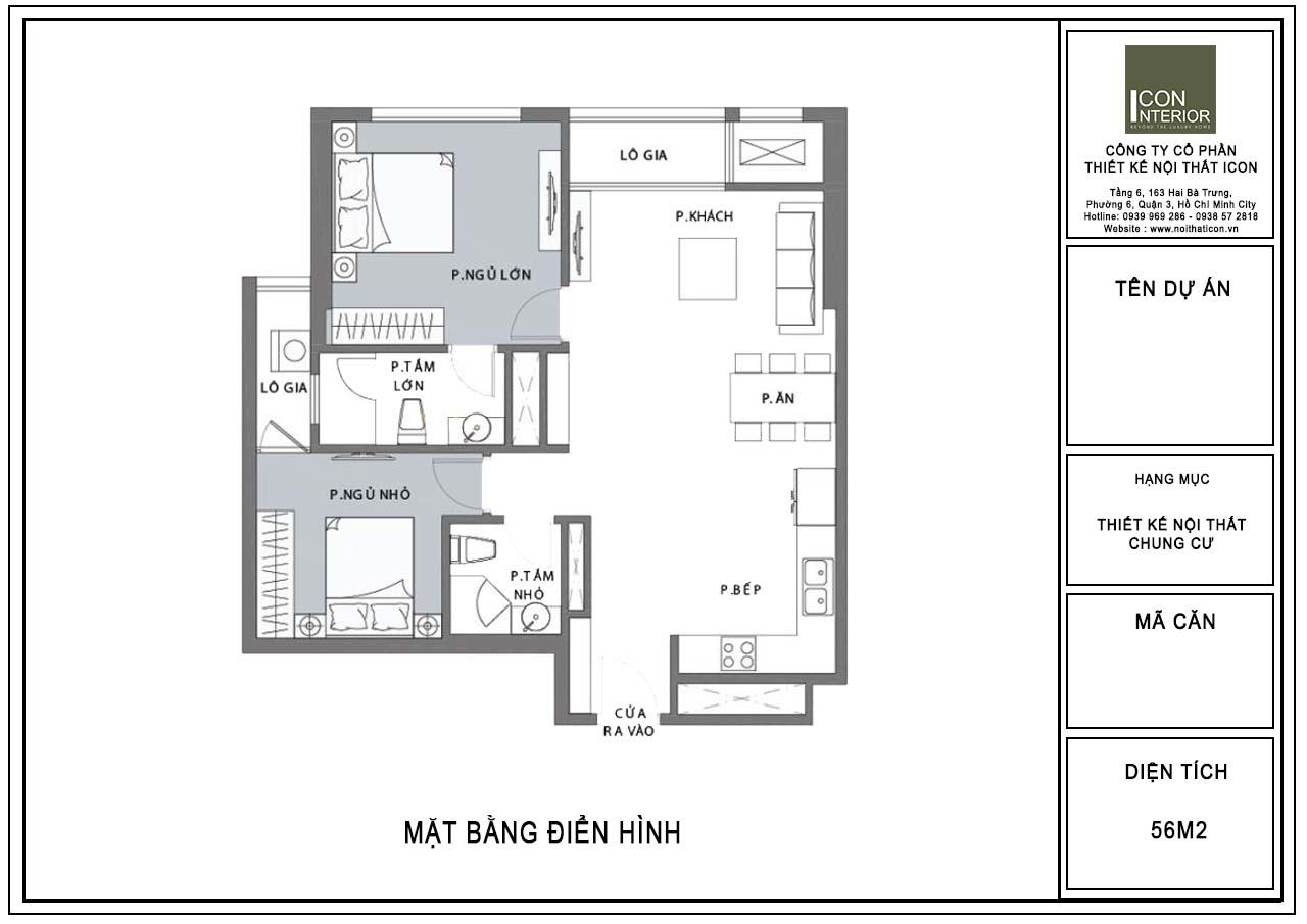mặt bằng nội thất chung cư 56m2