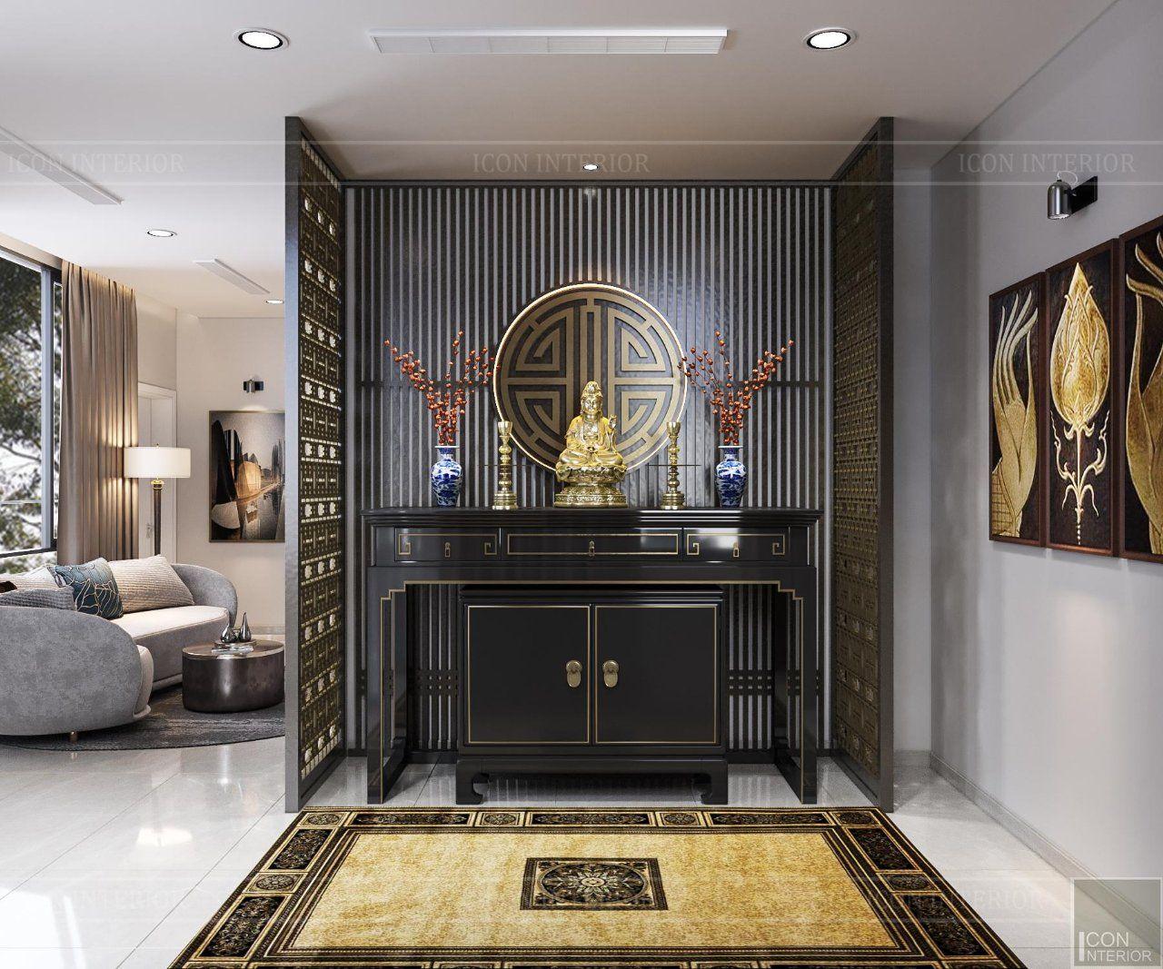 thiết kế bàn thờ tại phòng khách chung cư