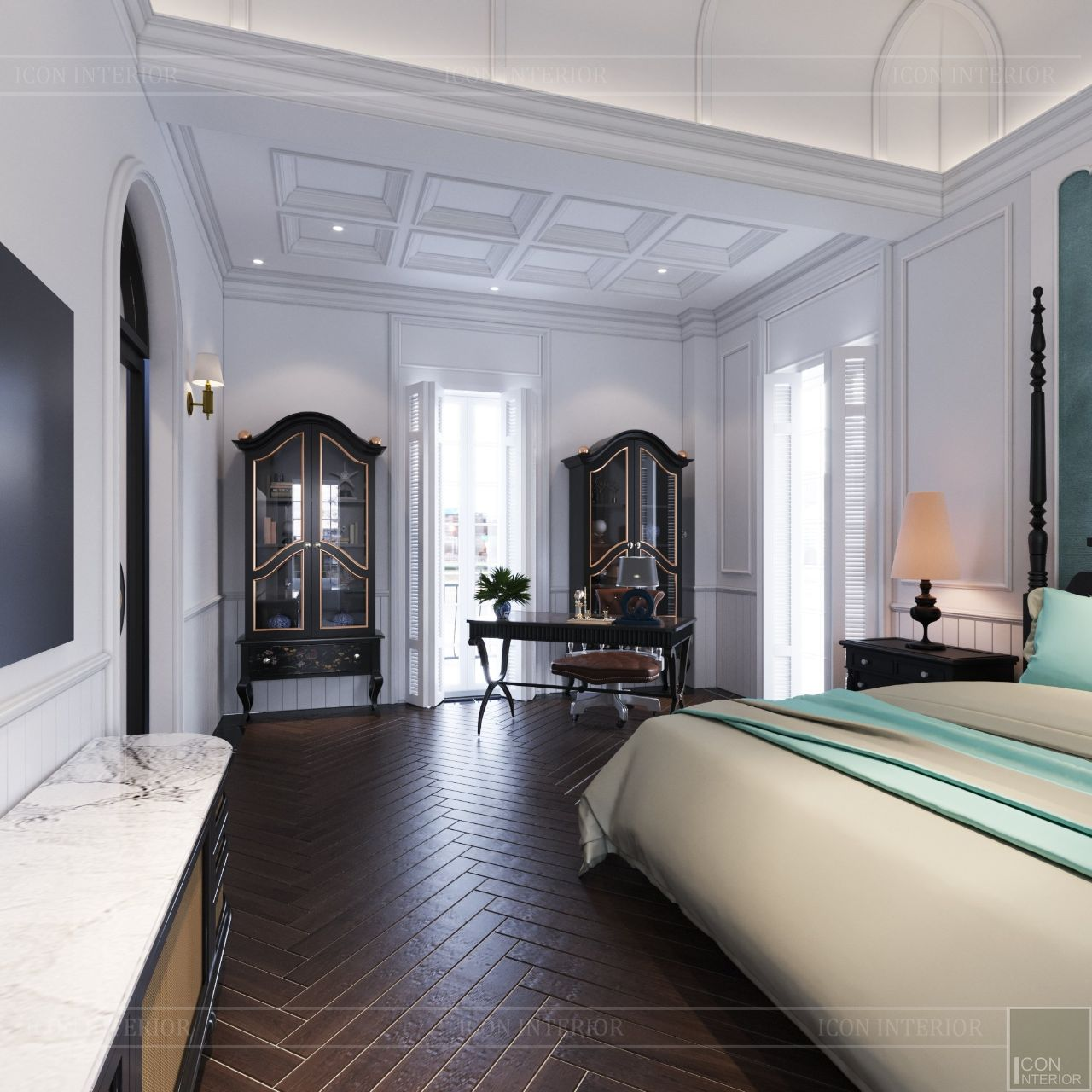 thiết kế nội thất phòng ngủ biệt thự thảo điền