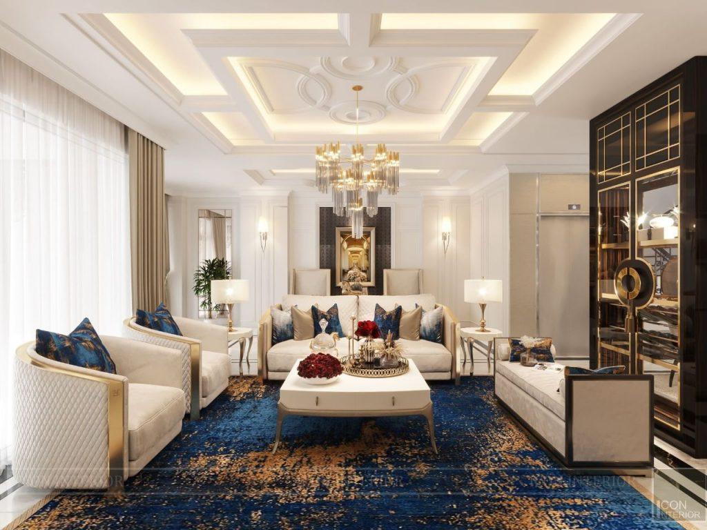 thiết kế nội thất phòng khách villa vạn phúc 5 tầng