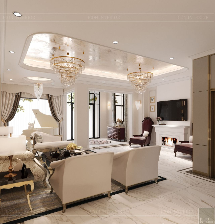 thiết kế nội thất phòng khách biệt thự vạn phúc city
