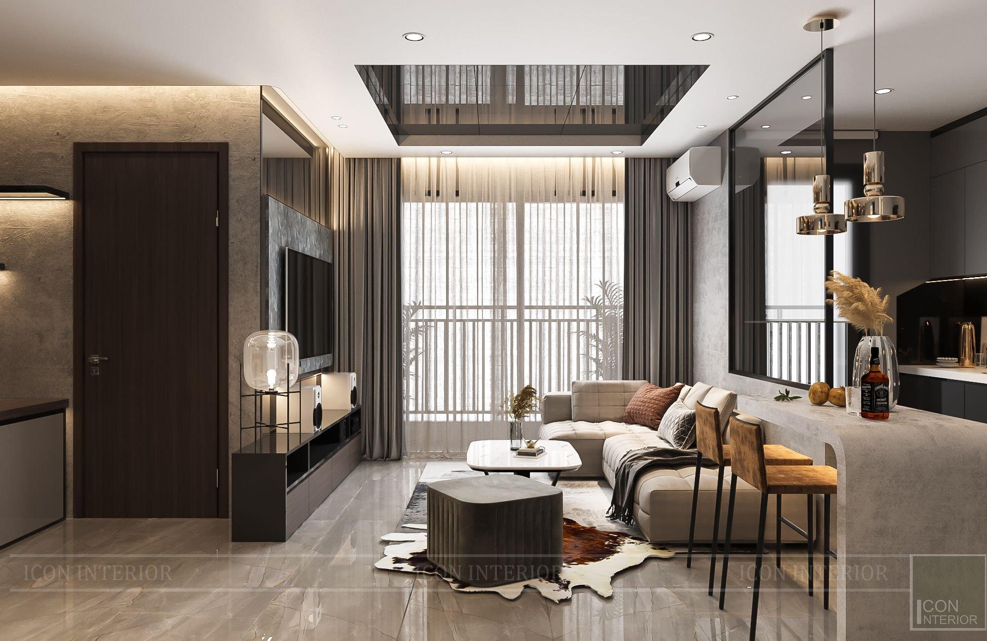 thiết kế nội thất chung cư 56m2 2 phòng ngủ