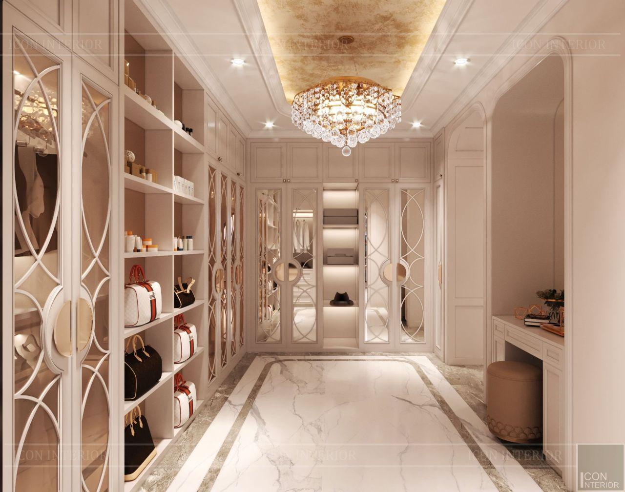 thiết kế nội thất closet biệt thự vạn phúc city