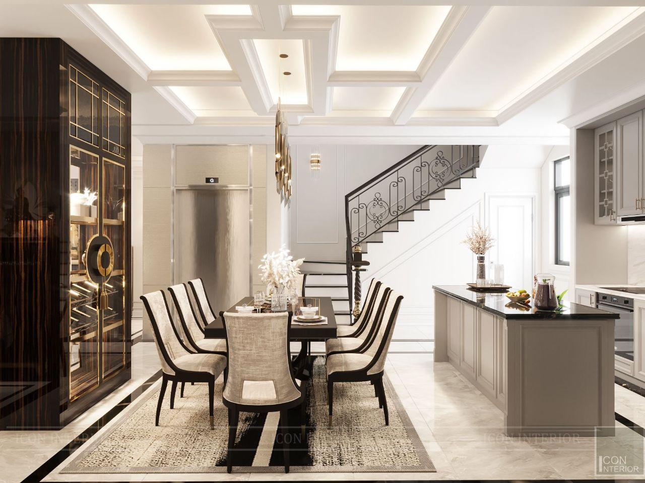 thiết kế phòng ăn villa vạn phúc city