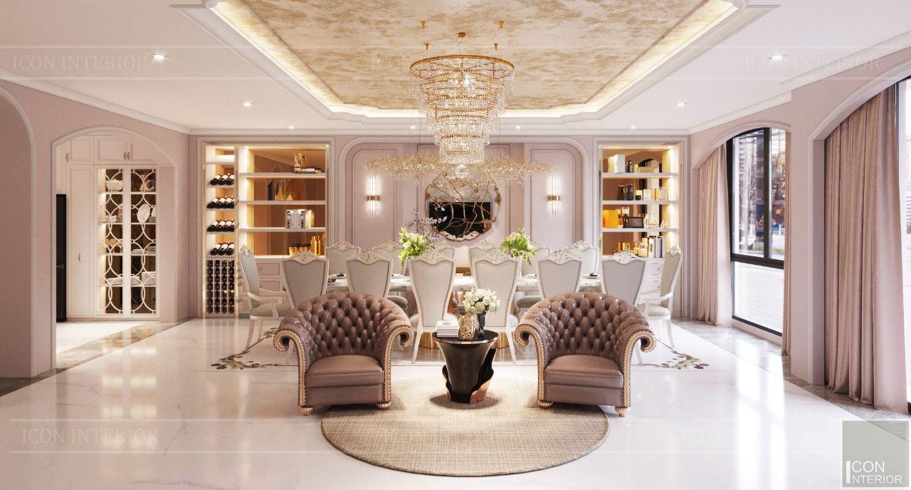 thiết kế nội thất phòng ăn biệt thự vạn phúc city