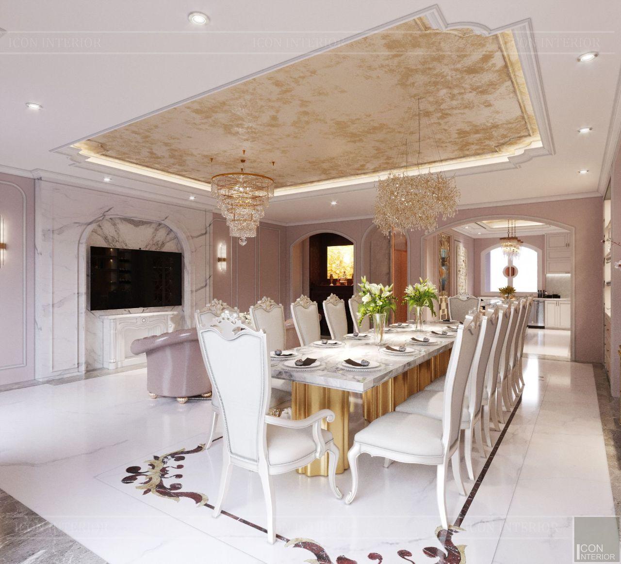 thiết kế nội thất phòng bếp biệt thự vạn phúc city