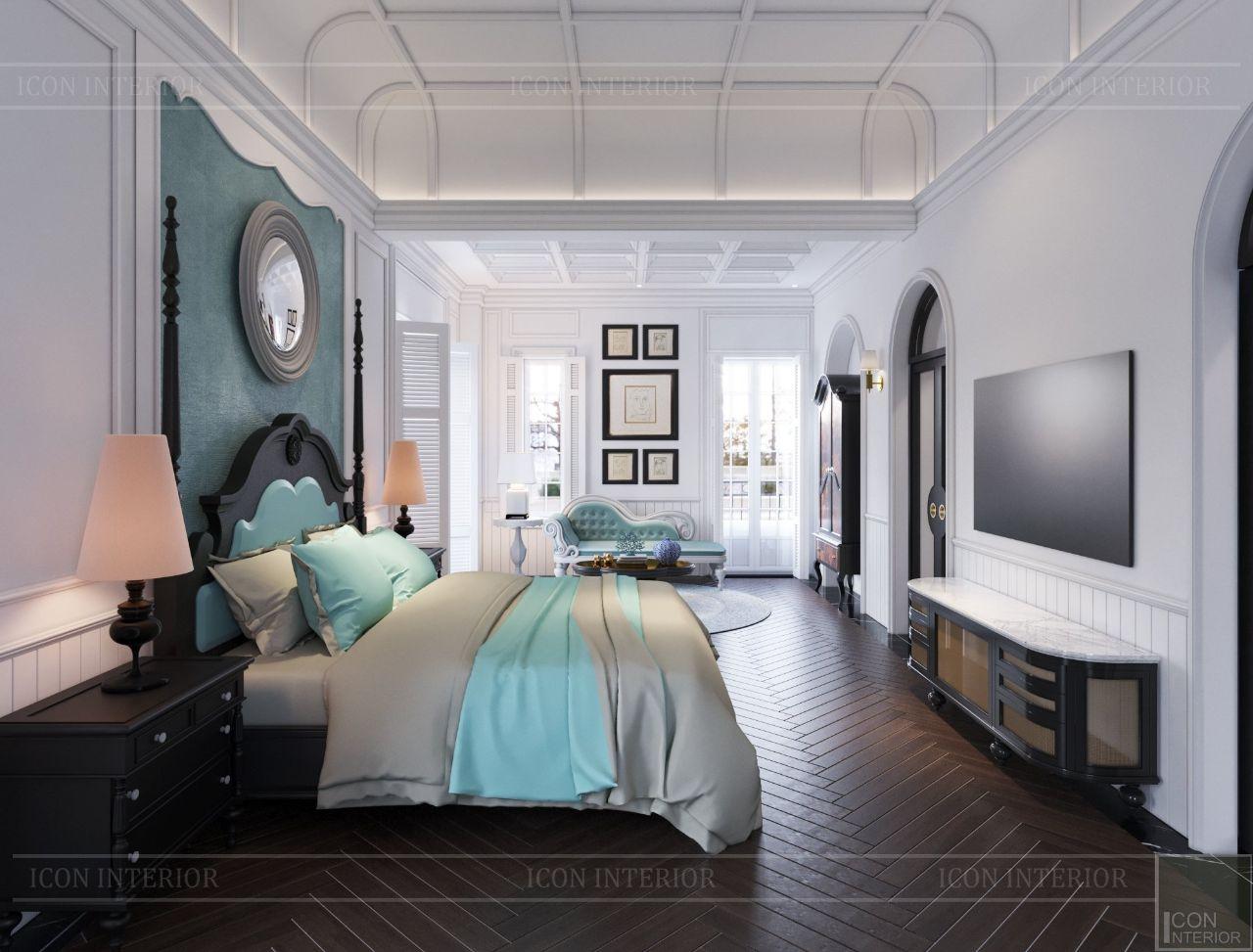 thiết kế nội thất phòng ngủ master biệt thự thảo điền