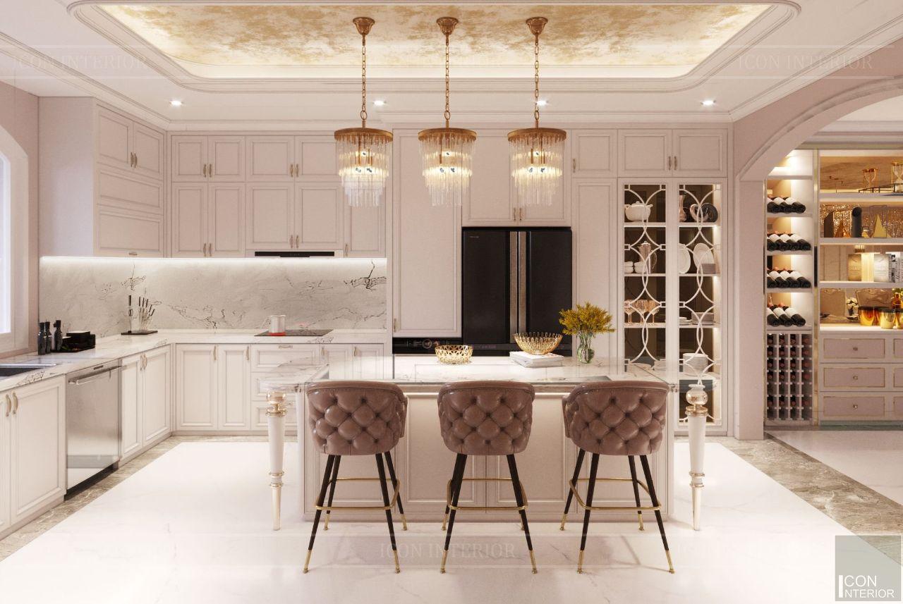 thiết kế nội thất tủ bếp biệt thự vạn phúc city