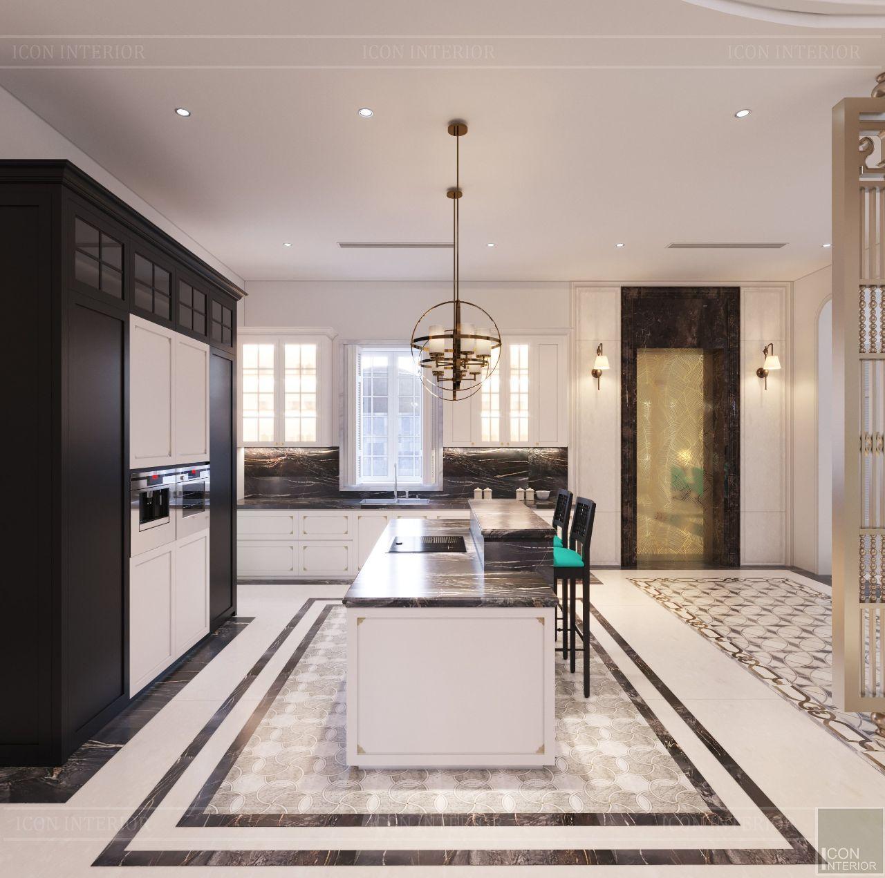thiết kế nội thất tủ bếp biệt thự thảo điền