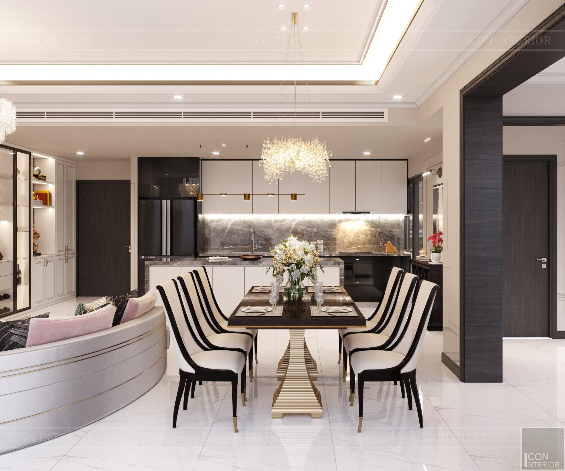 thiết kế nội thất phòng ăn căn hộ tân cổ điển