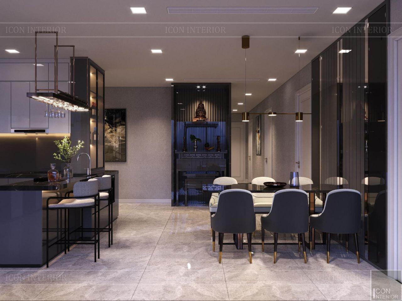 thiết kế phòng khách căn hộ có bàn thờ