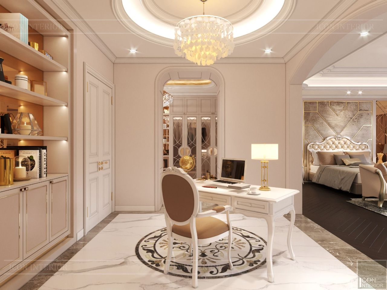 thiết kế nội thất phòng ngủ master biệt thự vạn phúc city