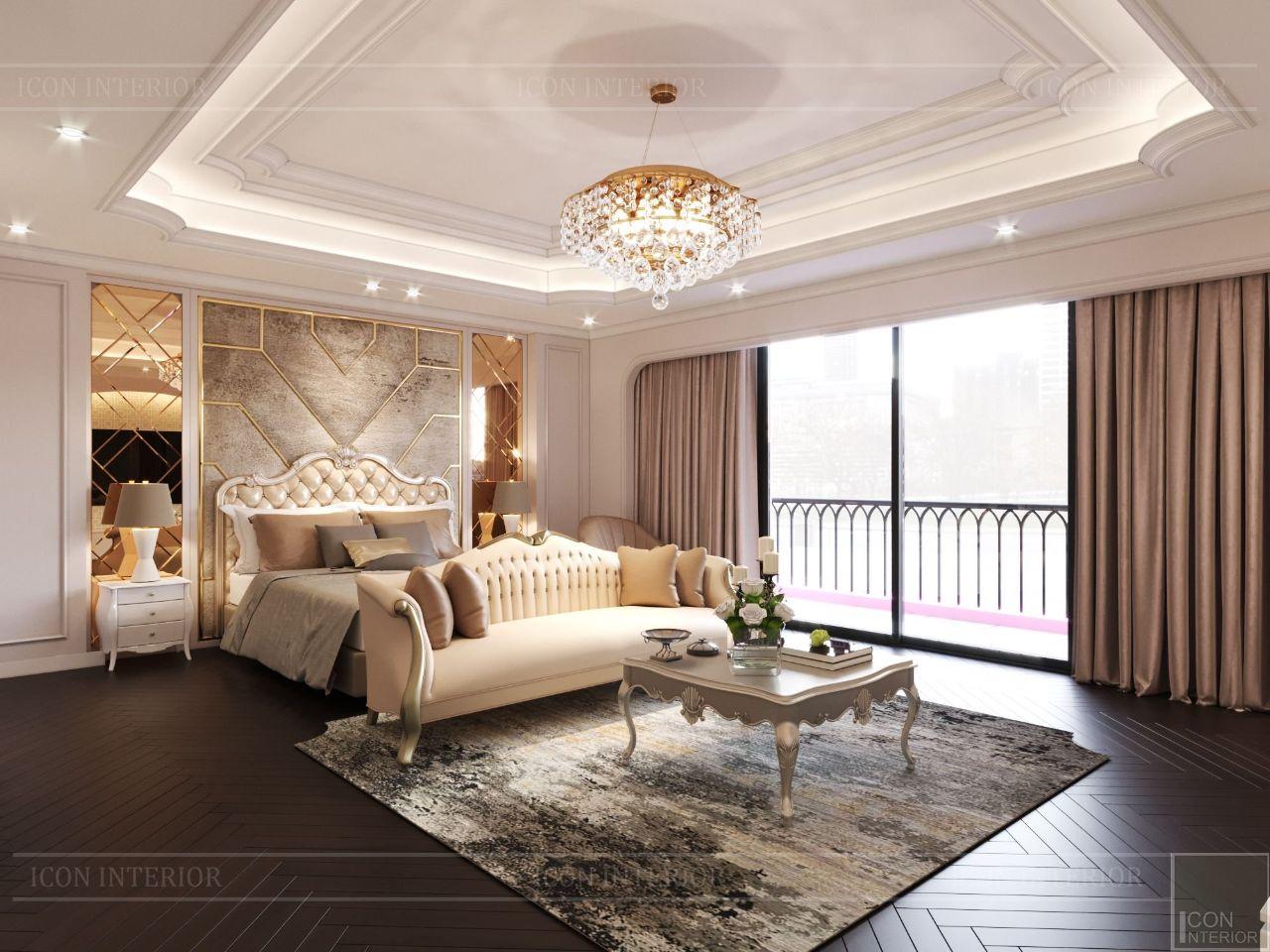 thiết kế nội thất phòng ngủ cao cấp biệt thự vạn phúc city