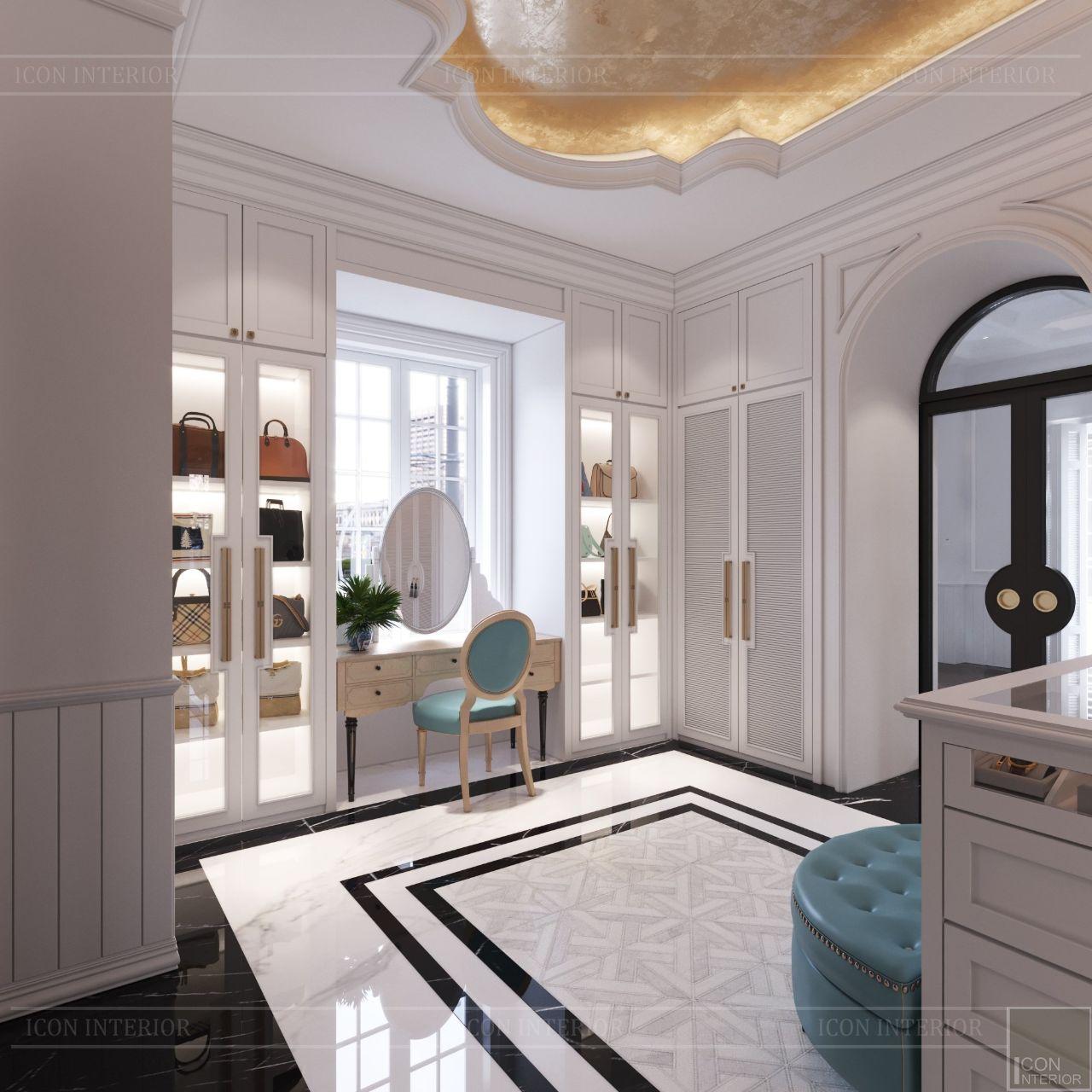 thiết kế nội thất phòng thay đồ biệt thự thảo điền