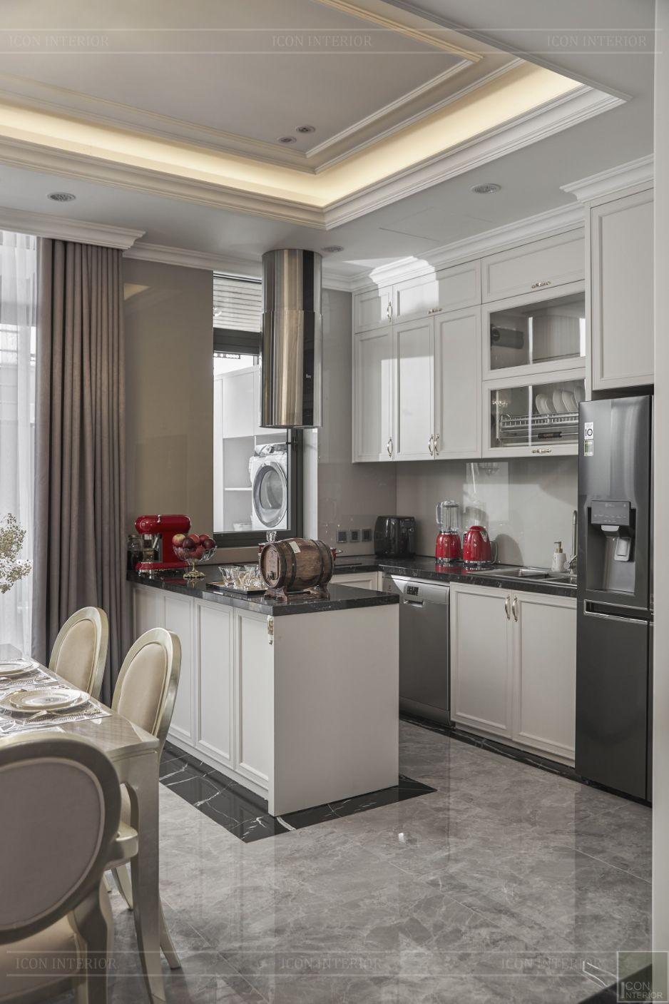 thi công nội thất nhà bếp hiện đại biệt thự lavila